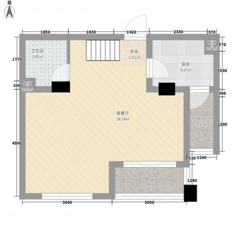 金地国际花园1厅1卫1厨60.00㎡户型图