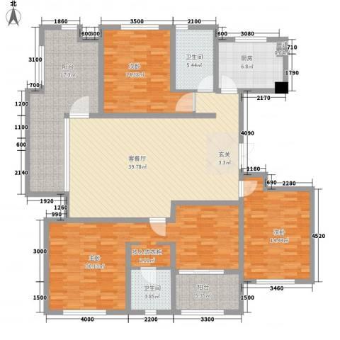 金地国际花园3室1厅2卫1厨137.50㎡户型图