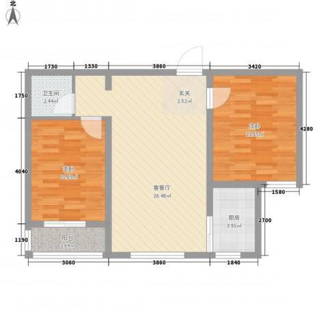 北里洋房2室1厅1卫1厨86.00㎡户型图