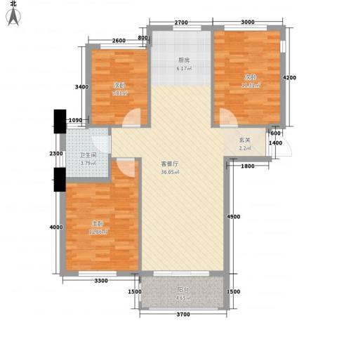 鼎新悦府3室1厅1卫0厨106.00㎡户型图