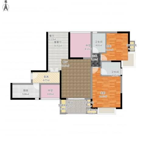新乡星海传说2室1厅2卫1厨135.00㎡户型图