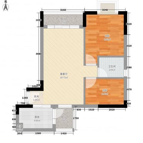 天伦东时区2室1厅1卫1厨64.00㎡户型图