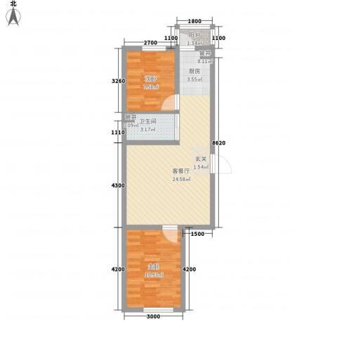 天一朝阳地矿花园2室1厅1卫0厨47.80㎡户型图