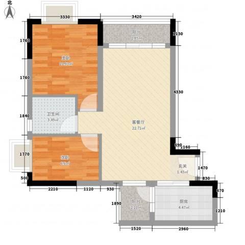天伦东时区2室1厅1卫1厨77.00㎡户型图
