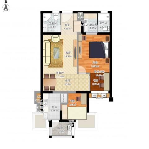 绿中海明苑1室1厅3卫1厨101.00㎡户型图