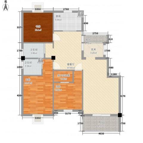 黄山豪庭3室1厅2卫1厨134.00㎡户型图