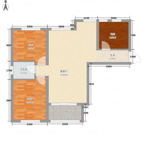 鼎新悦府3室1厅1卫0厨96.00㎡户型图