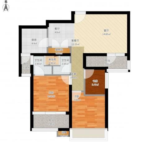 日月光伯爵天地3室1厅2卫1厨90.00㎡户型图