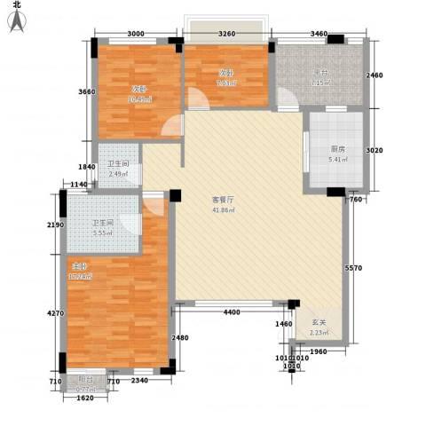 海昌加勒比3室1厅2卫1厨97.98㎡户型图