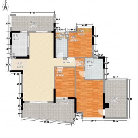 雅居乐国际花园3室1厅2卫1厨155.00㎡户型图