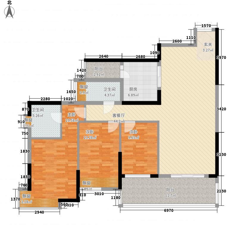 雅居乐国际花园117.00㎡户型3室