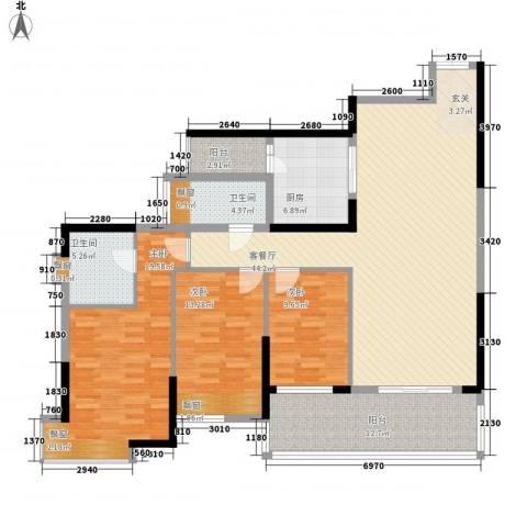 雅居乐国际花园3室1厅2卫1厨118.83㎡户型图