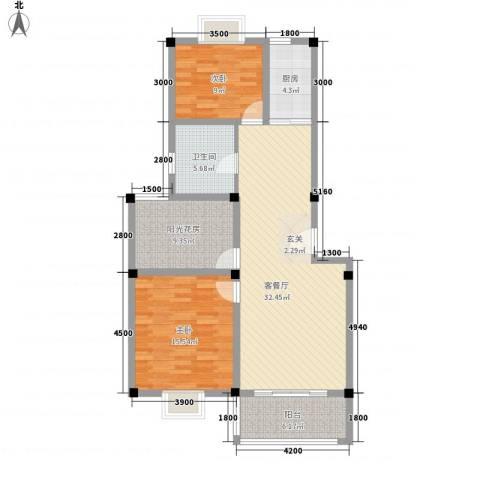 东方丽景2室1厅1卫1厨82.50㎡户型图