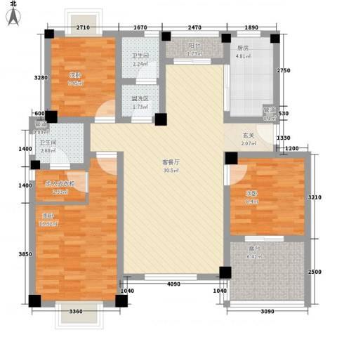 望湖名门3室1厅2卫1厨123.00㎡户型图