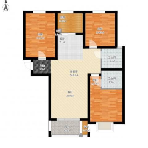 御江景城3室1厅2卫1厨134.00㎡户型图