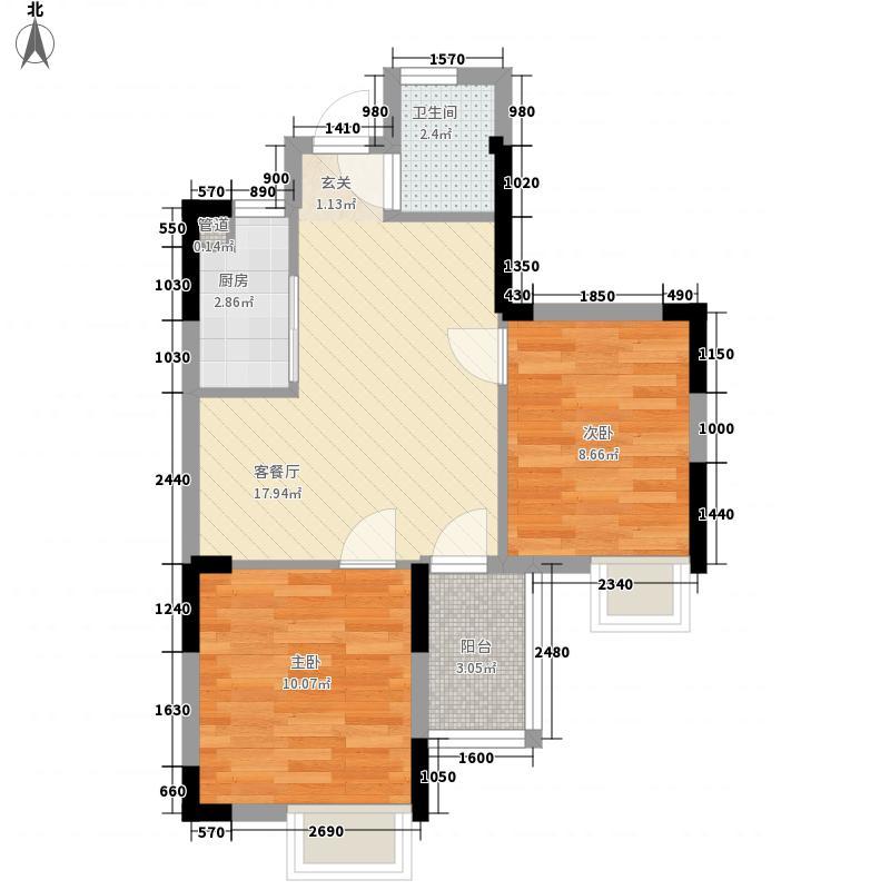 龙居沃城65.00㎡高层G户型2室2厅1卫1厨