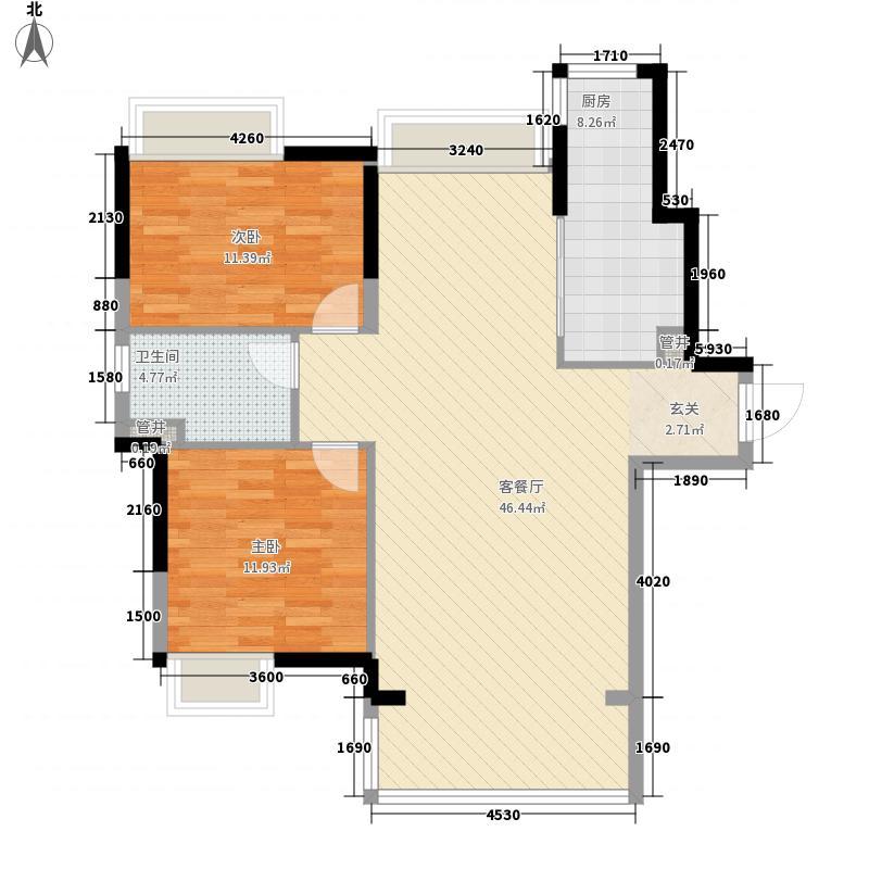 金泽儒家6.65㎡6号楼、7号楼H户型2室2厅1卫1厨