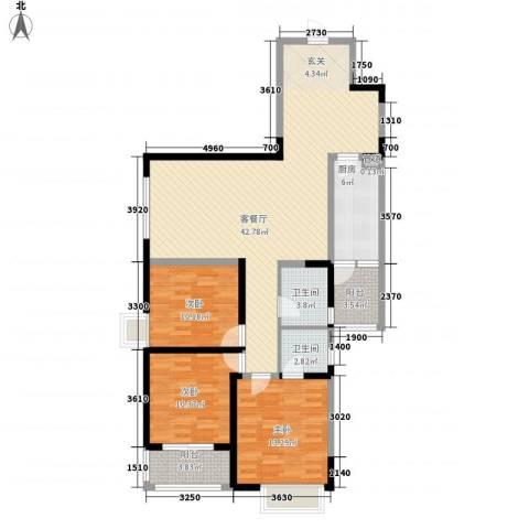 卡布奇诺国际社区3室1厅2卫1厨126.00㎡户型图