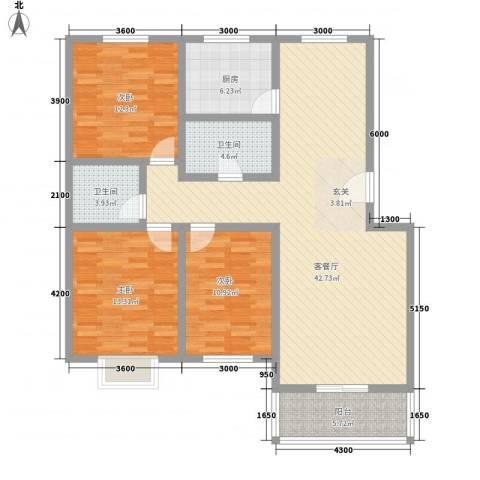 温泉公寓3室1厅2卫1厨128.00㎡户型图