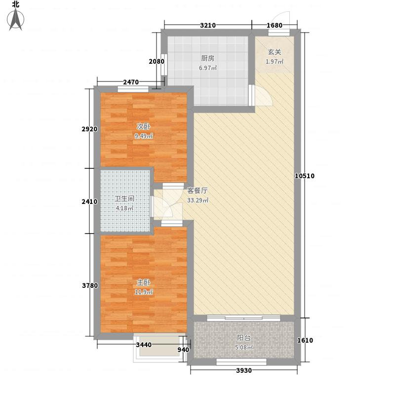 易安明郡102.00㎡易安明郡户型图3#B2户型2室2厅1卫1厨户型2室2厅1卫1厨