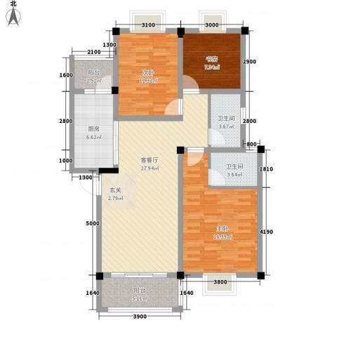 东方丽景3室1厅2卫1厨122.00㎡户型图