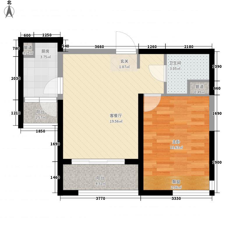 福瀛天麓湖68.25㎡一期5号楼B户型1室2厅1卫1厨
