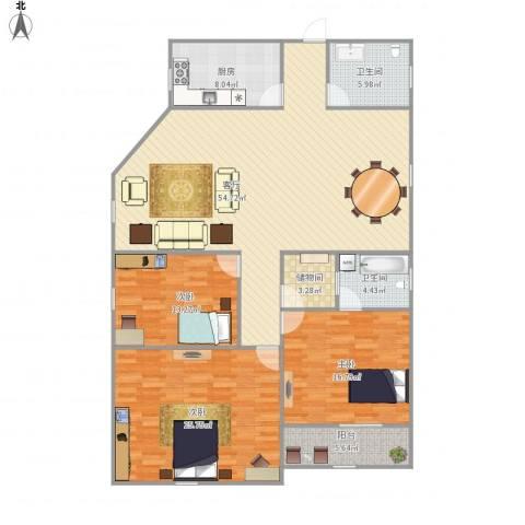 平安居3室1厅2卫1厨146.42㎡户型图