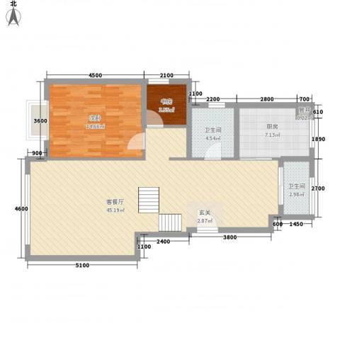 华银城2室1厅2卫1厨78.27㎡户型图