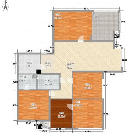 南方香榭里5室1厅2卫1厨224.00㎡户型图