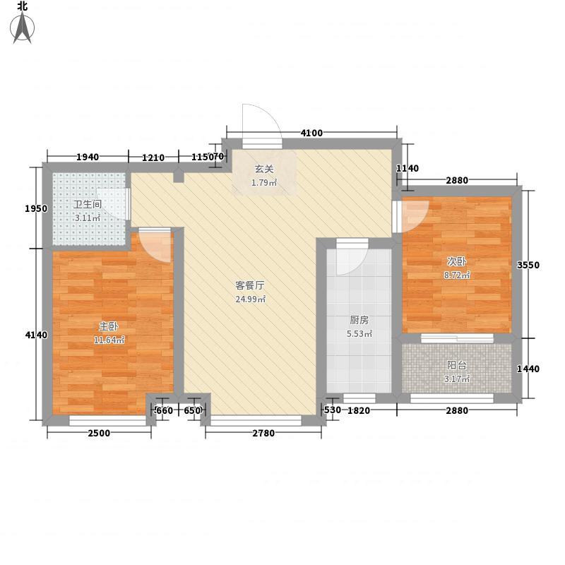 逸城山色82.74㎡4号楼景逸两居户型2室2厅1卫1厨