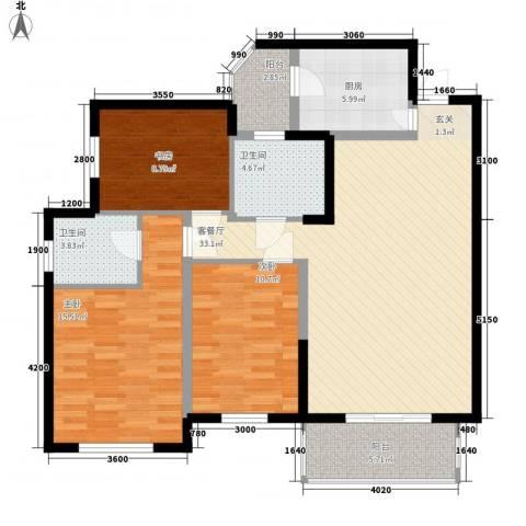 职工宿舍楼3室1厅2卫1厨129.00㎡户型图