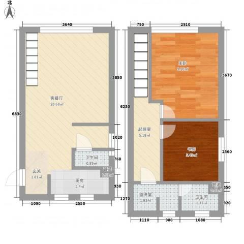 锦华银座2室2厅2卫0厨52.54㎡户型图