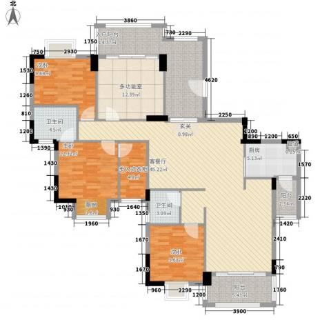 富盈山水华府3室1厅2卫1厨129.50㎡户型图