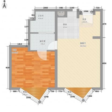 静安紫苑1室2厅1卫0厨78.00㎡户型图
