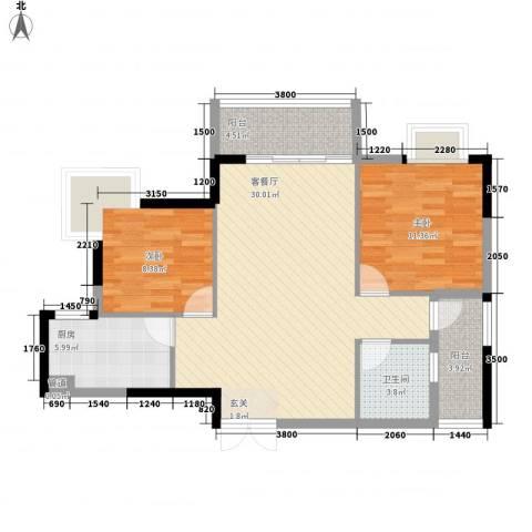 东城中心三期2室1厅1卫1厨125.00㎡户型图