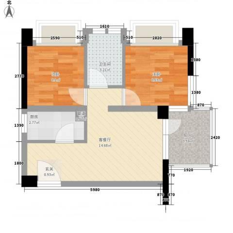 尹江岸二村2室1厅1卫1厨55.00㎡户型图