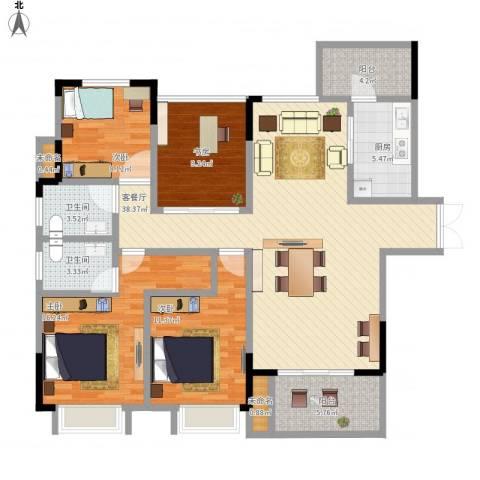 三元二村4室1厅2卫1厨150.00㎡户型图