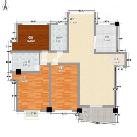 华瑞新城3室1厅2卫1厨125.87㎡户型图