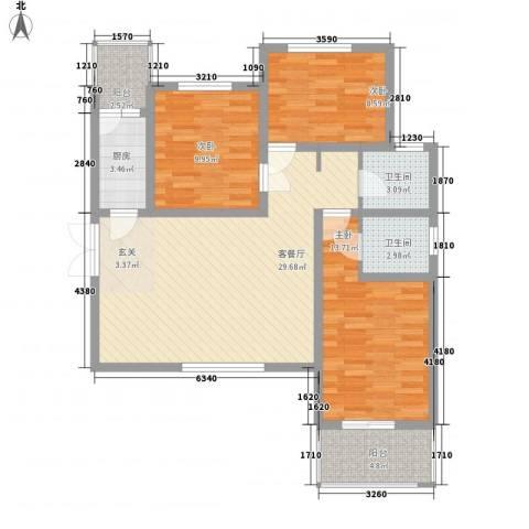 金穗花园3室1厅2卫1厨114.00㎡户型图