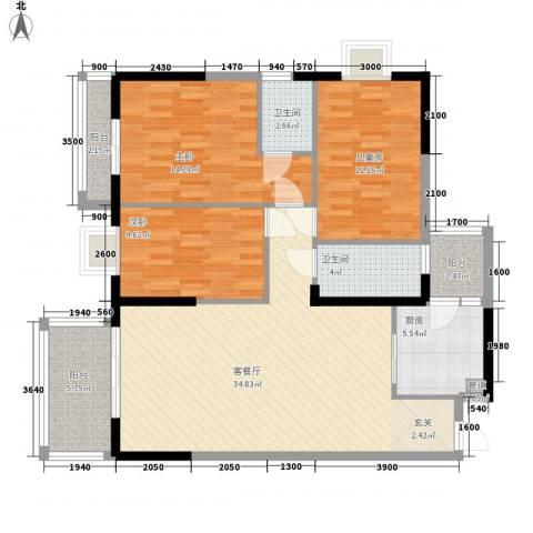 金盛大厦3室1厅2卫1厨93.55㎡户型图