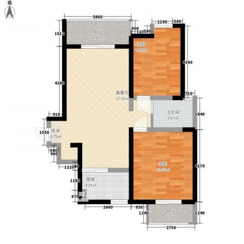 东方雅居2室1厅1卫1厨94.00㎡户型图