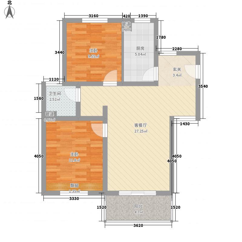 绿地・运河纪88.00㎡三期GB2户型2室2厅1卫