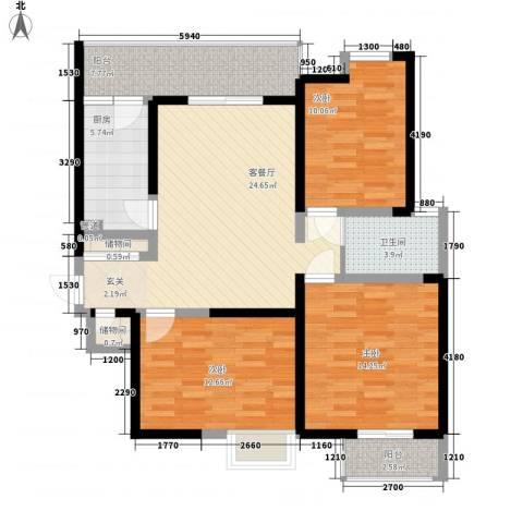 东方雅居3室1厅1卫1厨118.00㎡户型图