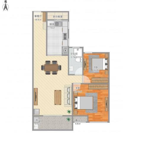 锦江丽都2室1厅1卫1厨96.00㎡户型图