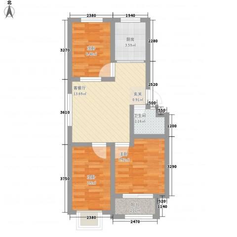 福寿园3室1厅1卫1厨65.00㎡户型图