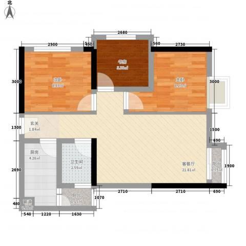 我平方3室1厅1卫1厨78.00㎡户型图