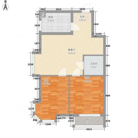 凤凰城2室1厅1卫1厨67.15㎡户型图