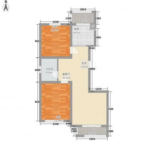 丽景园2室1厅1卫1厨73.10㎡户型图