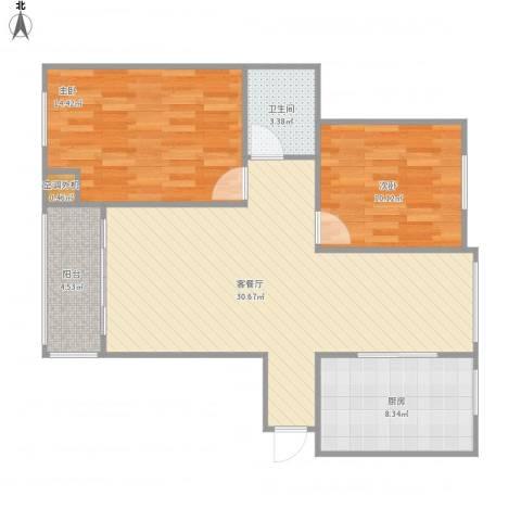 中央公园2室1厅1卫1厨77.46㎡户型图