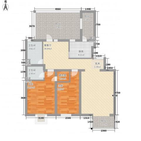 大宁山庄2室1厅2卫1厨115.00㎡户型图